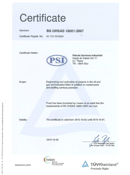 Certification BS OHSAS 18001 : 2007